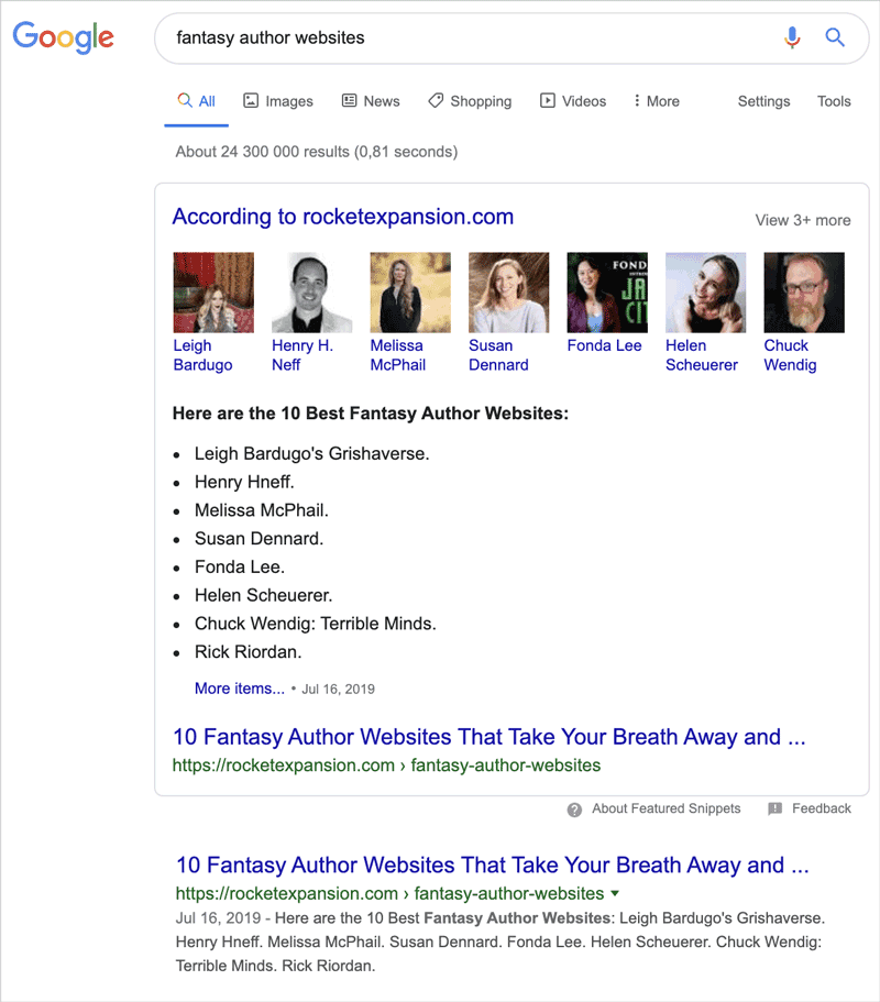 Top results in Google in only 2 weeks
